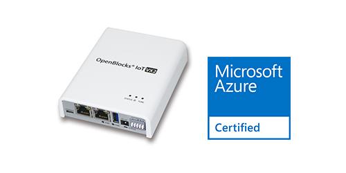 OpenBlocks IoT VX2とAzure Certified for IoTロゴ