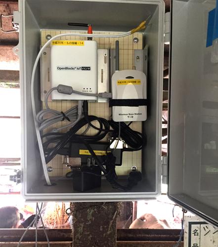 農場の配電ボックスに設置されたOpenBlocks IoT VX2/W